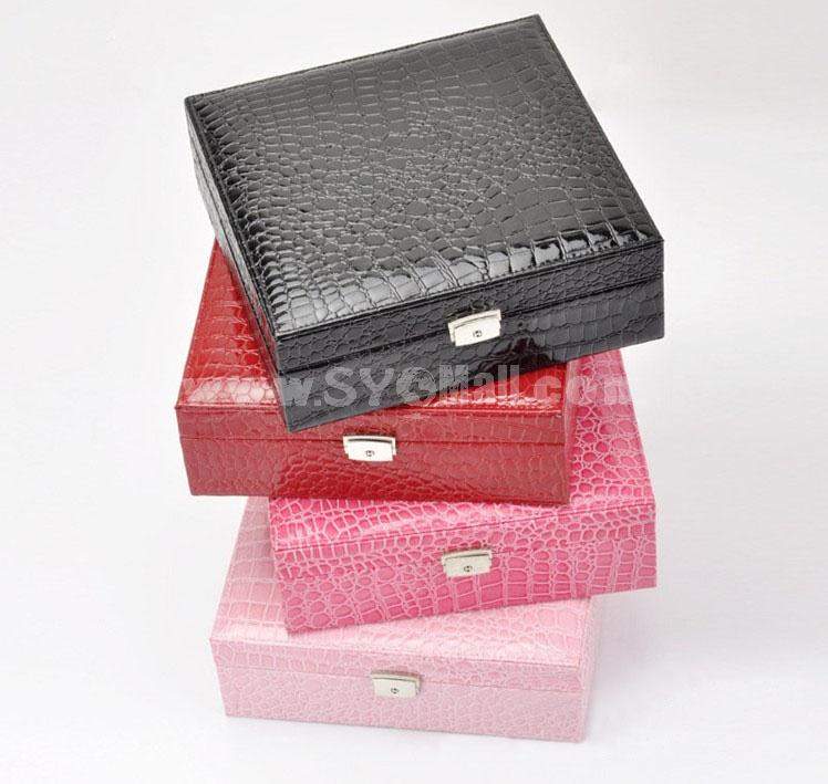 GUANYA Crocodile Leather Square Jewel Box With no Mirror (641-59)