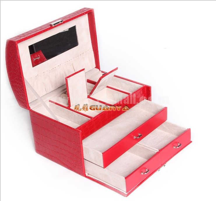 GUANYA Crocodile Leather Arch Shaped Jewel Box (P104-59)