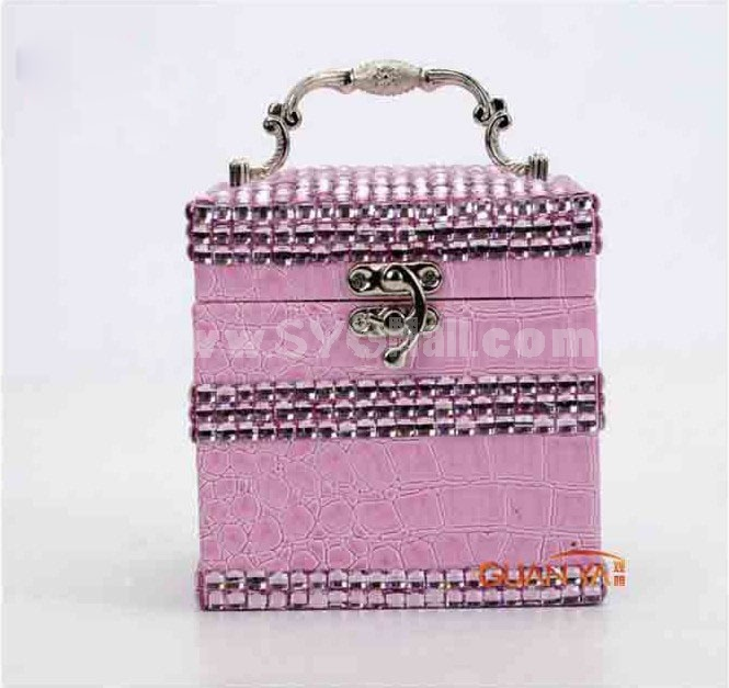 GUANYA Crocodile Leather Multilayed Jewel Box With Diamond (653-58)