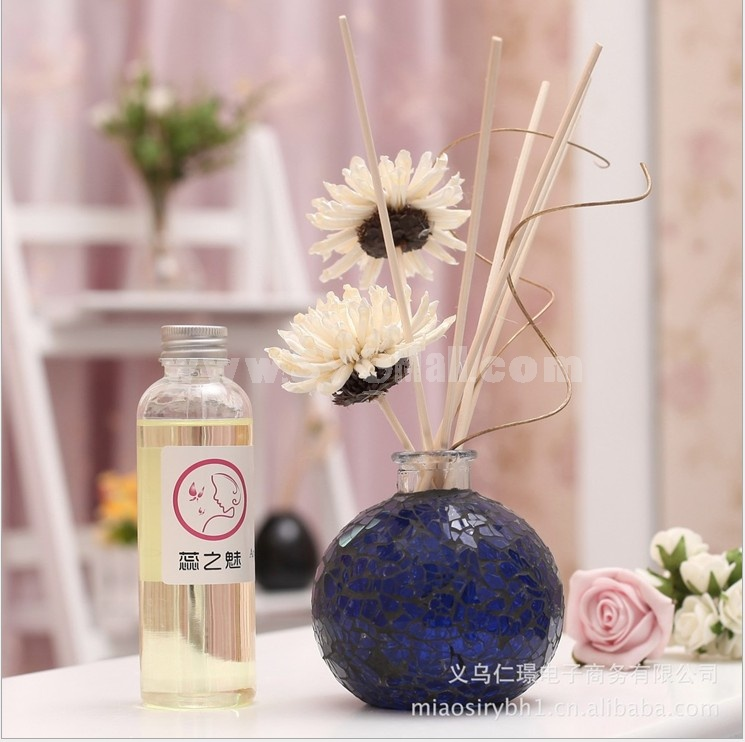 Home Air Freshener Aromatherapy Essential Oil and Coloured Glaze Glass Bottle Set -RZMB