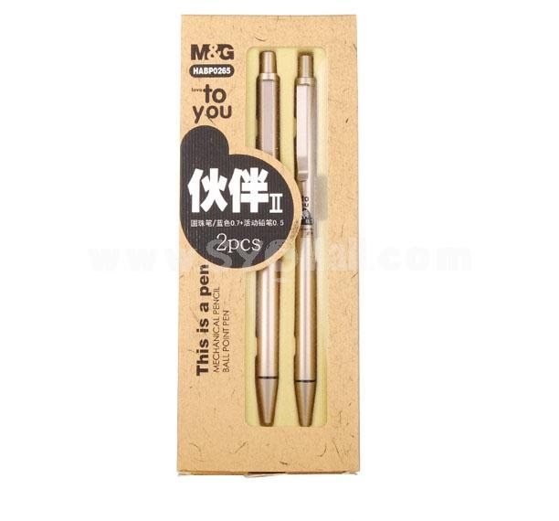 M&G 0.7mm Office & School Things Ballpoint Pen + 0.5mm Retractable Pencils  HABP0265
