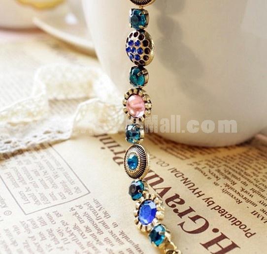 Gorgeous Vintage Colour Rhinestone Blue Diamond Bracelet (TB244)