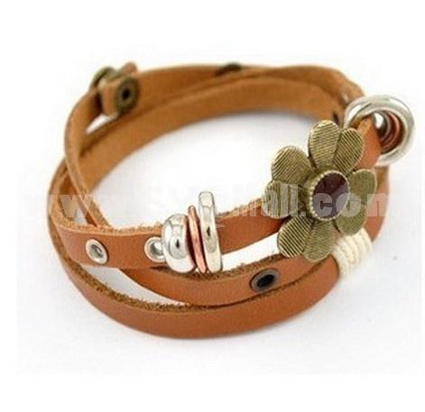 Faddish Multilayed Lovely Flora Leather Bracelet (T0151)
