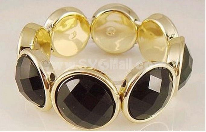 Faddish Black RhineStone Stretchy Alloy Bracelet (TFS0037)