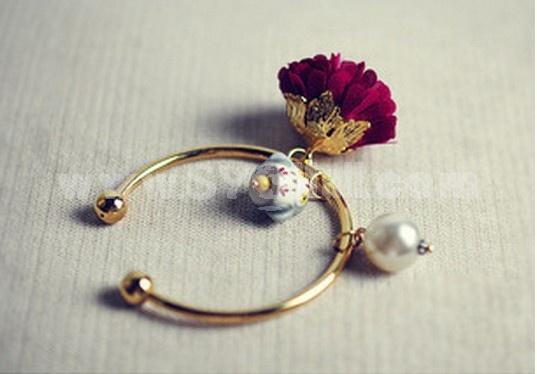 Stylish Rose & Imitation Pearl& Ceramic Animal Alloy Open Bracelet(TB121)