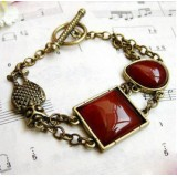 Wholesale - Vintage Red Imitation Agate Carve Owl Bracelet (TB337)