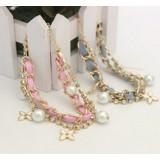 Wholesale - Faddish Clover Pearl Two Layed Diamond Pink Bracelet (TK106)