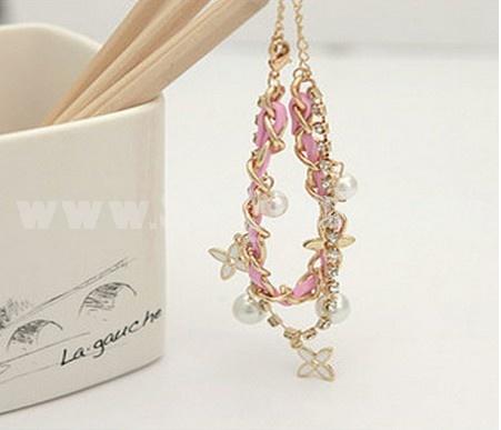 Faddish Clover Pearl Two Layed Diamond Pink Bracelet (TK106)