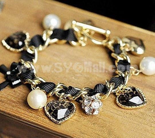 Ribborn Faddish Diamnods & Leopard Peach Heart & Pearl & Bowknot Pendants Bracelet (TK060)