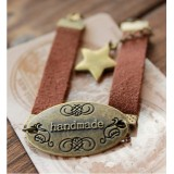 Wholesale - Wide Leather Star With handmade Letter Vintage Bracelet