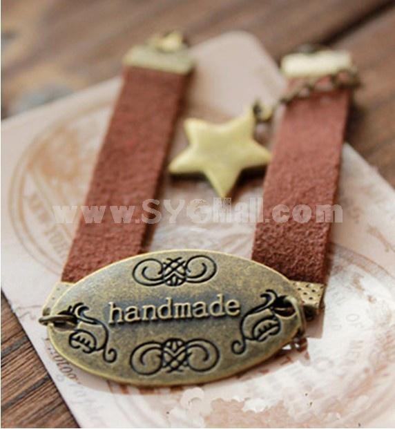 New Arrival Wide Leather Star With handmade Letter Vintage Bracelet