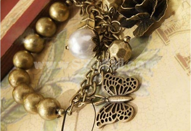 Vintage Bracelet with Folwer & Leaf & Butterfly Pendants (TB315)