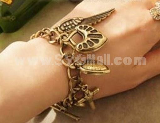 Vingtage Alloty Bracelet with Cross & Wing & Peach Heart Pendants (TB496)
