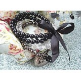 Wholesale - Hot Sale Stylish Beading Bracelet with Black Peach Heart & Bowknot Pendants (T093)