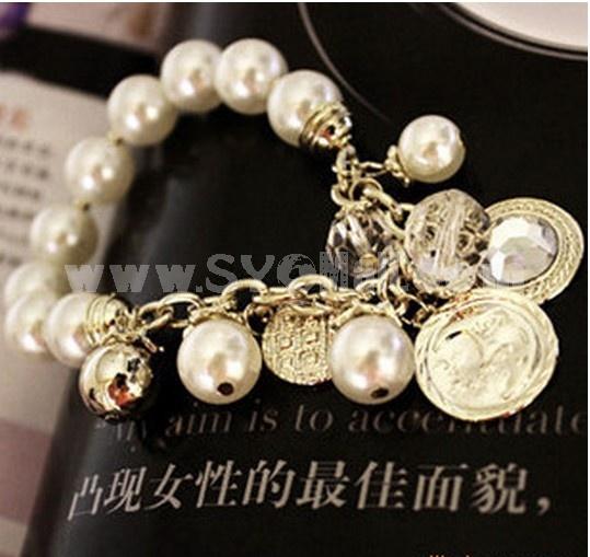 Stylish Gold Diamond Pearl Bracelet (TB162)