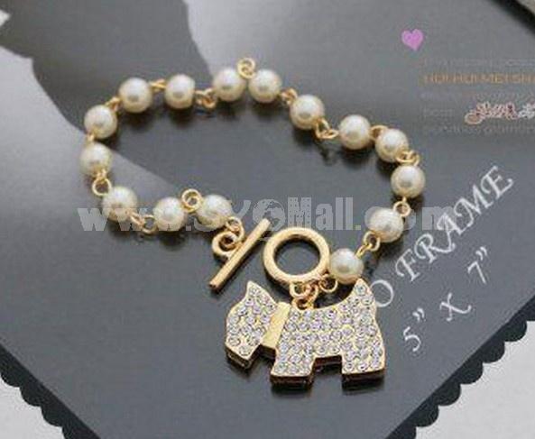 Faddish Diamond Dog Pearl Bracelet (T0128)