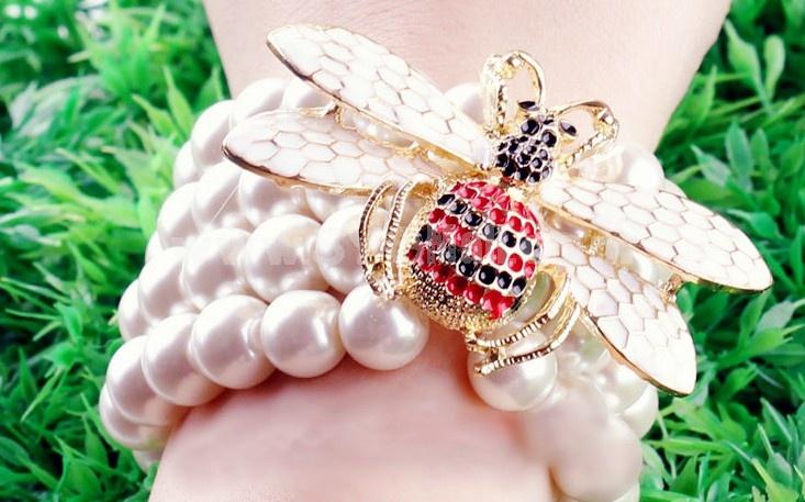 Faddish Bee Multilayed Pearl Stretchy Bracelet (TK078)