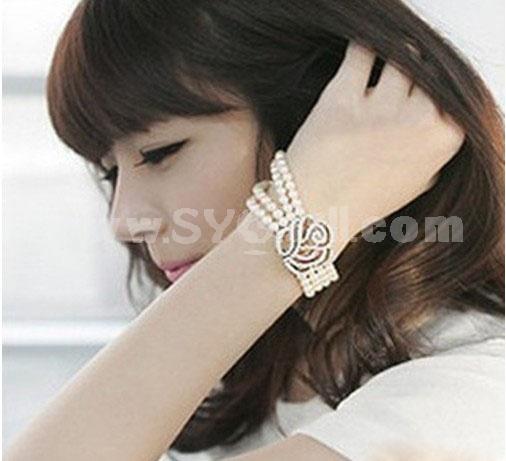 Hot Sale Korea Exquisite Hollow Rose Pearl Bracelet (TB279)