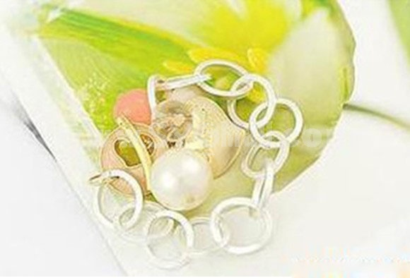 Stylish Peach Heart Pearl Bracelet (TB84)
