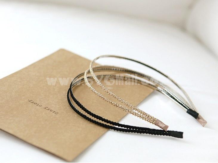 TC04 Korean Style Two-tiered Slender Braided Headband