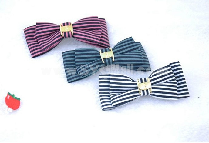 TB81 Lovely Striped Ribbon Butterfly Tie Hair Clip