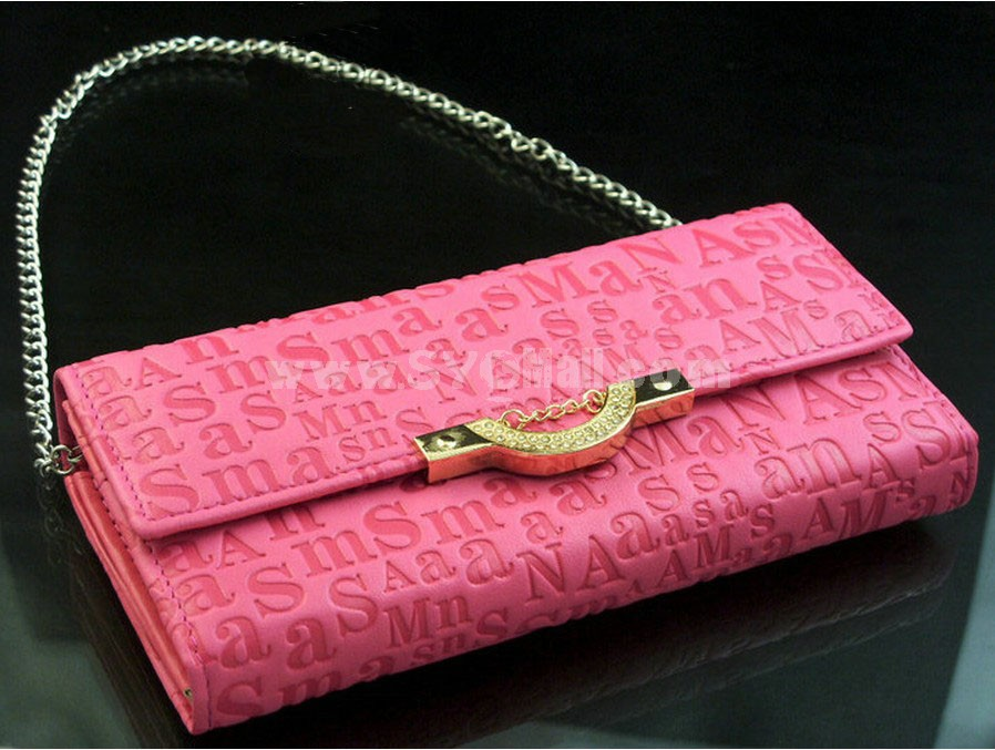 Elegant Solid Check Letter Printed Zipper Women Wallet/Evening Handbag