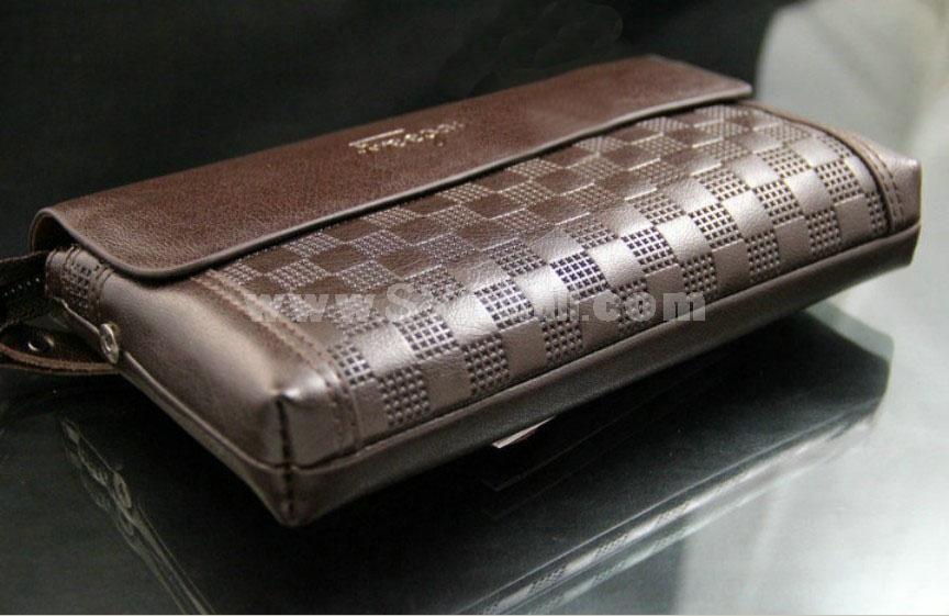 Stylish Check Pattern Large Capacity Multiple Pockets Print Men Wallet/Clutch