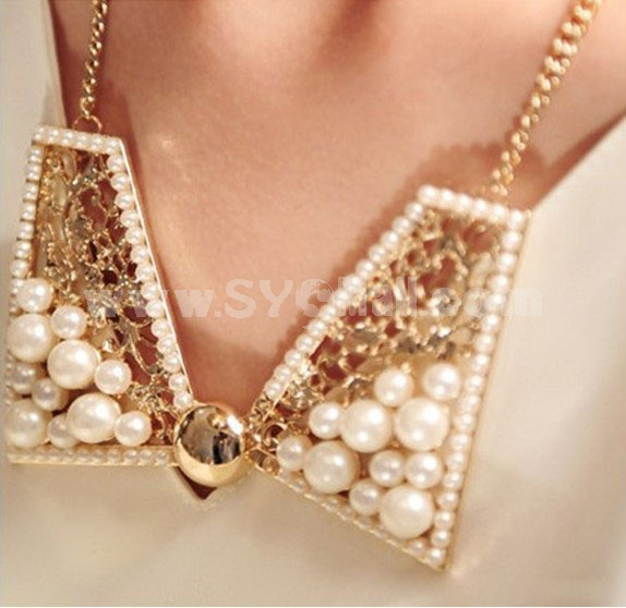New Arrival Lovely Pearl Bowknot Collar (TK170)