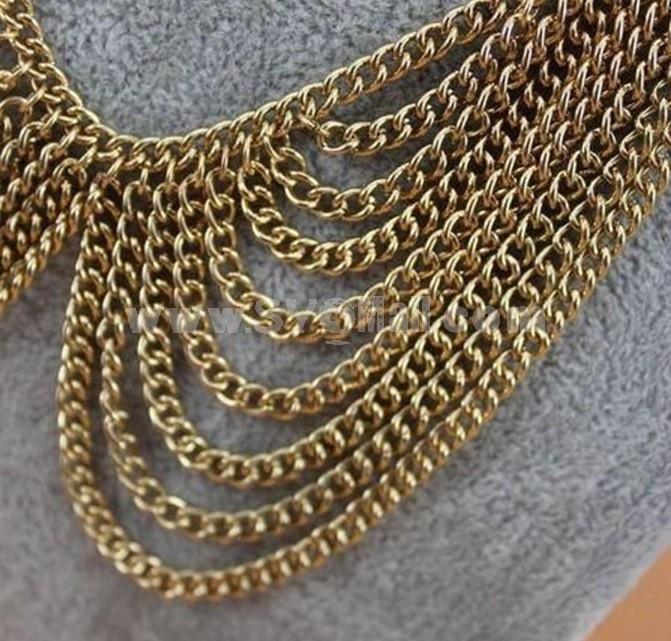 Stylish Multilayed Alloy Tassels Collar (TF44)
