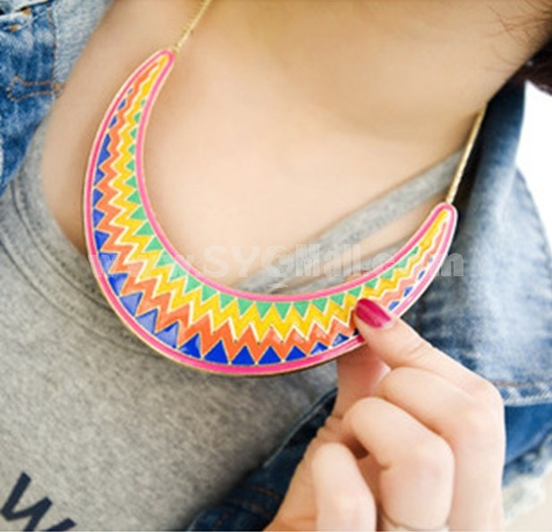 Vintage Triangle Texture Alloy Necklace (TF97)