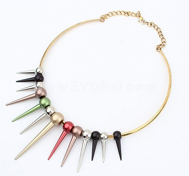 Stylish Punk Rivet Colour Necklace (TB371)