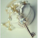 Wholesale - Shiny Crown Key pearl Two Layed Necklace (TB361)