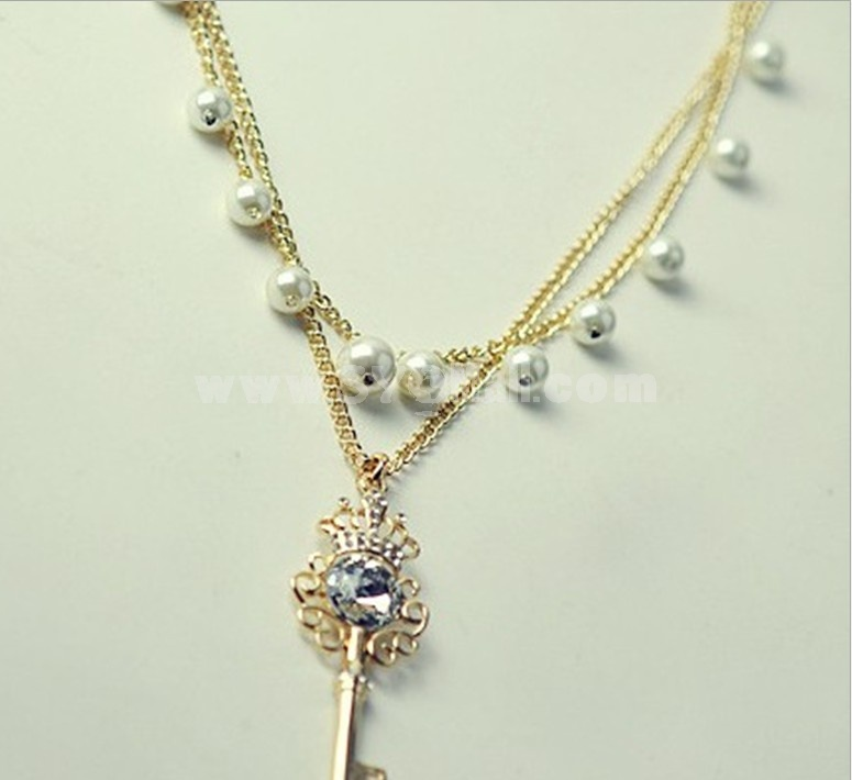 Shiny Crown Key pearl Two Layed Necklace (TB361)