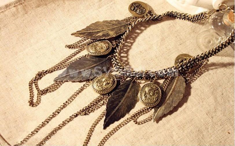 Vintage Tassels Leaf Necklace (TA36)