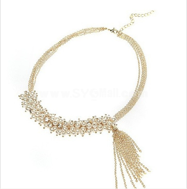 Multilayed Pearl Insert Gold Tassels Necklace (TB54)