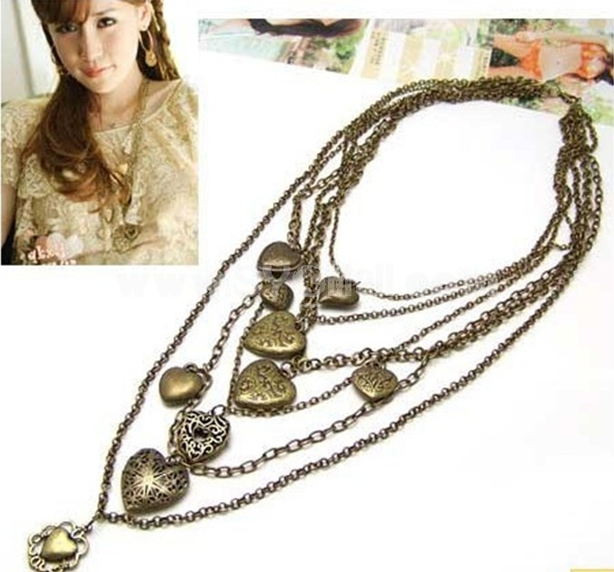 Vintage Multilayed Necklace with peach Hearts Pendants (TF153)