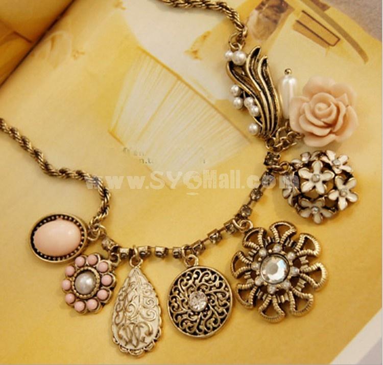 Exquisite Retro Rose Necklace (Tb273)