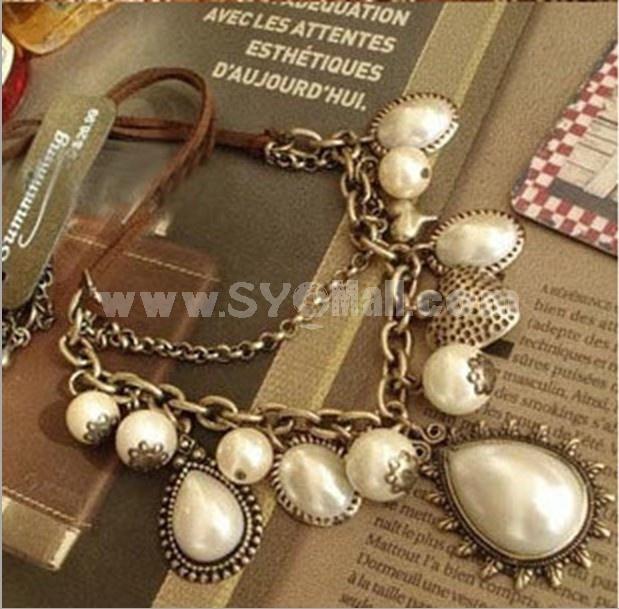 Vintage Peach Heart Short Pattern Necklace (TB343)