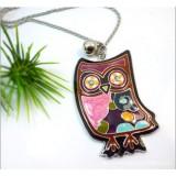 Wholesale - Korea Azure Stone Colour Diamonds Owl Necklace (TC24)