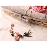 Wholesale - Retro Flora Swallow Carve Diamonds Necklace (TA66)