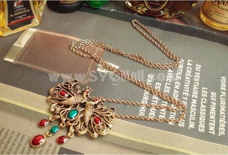 Korea Grandeur Peacock Alloy Necklace (T0152)