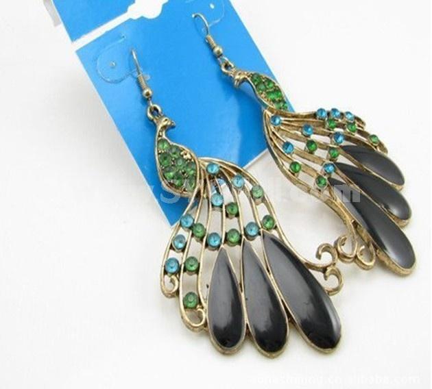 Vintage Bohemian Diamonds Peacock Earring