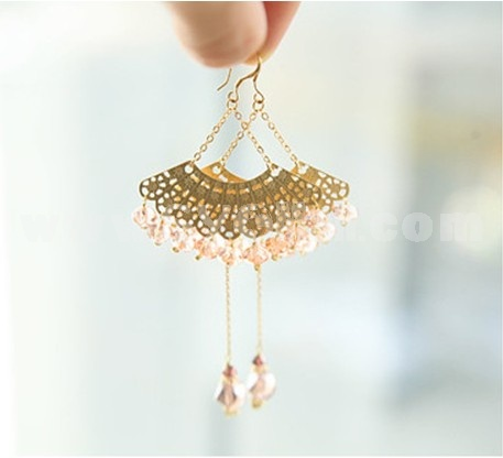 Exquisite Fan-shaped Crystal Earring