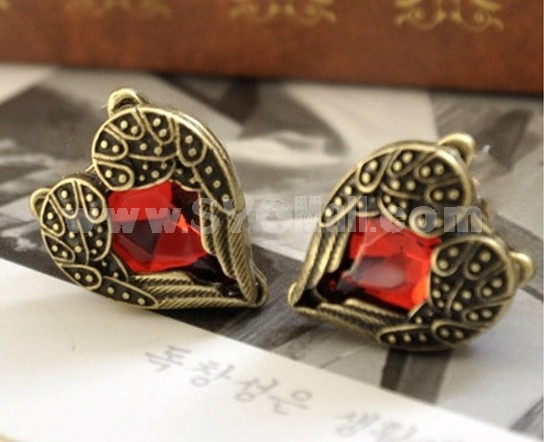 Vintage Angel Wing Peach Heart Earring