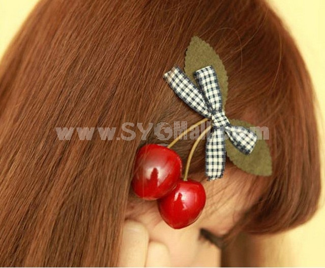 TC34 Adorable Bowknot Hair Clip With Cherry