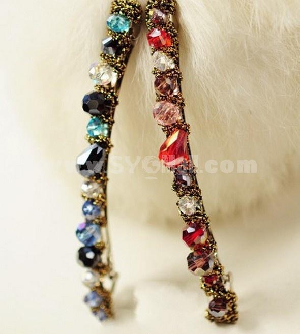 TK028 women's Korean-style Colorful Diamond Hair Clip