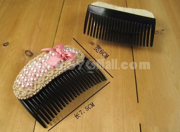 T096 Korean-style Bowknot Pearl Hair clip/ Comb