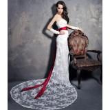Wholesale - MTF Exquisite Strapless Lace Chapel Train Trumpet/Mermaid Wedding Dress S1209