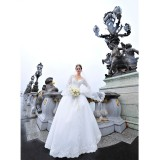 Wholesale - MTF V-neck Elegant A-line Train Wedding Dress with Sleeves S1293