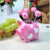 Wholesale - Creative Kitchen Goods Pink Piggy Resin & Stainless Steel Fruit Fork